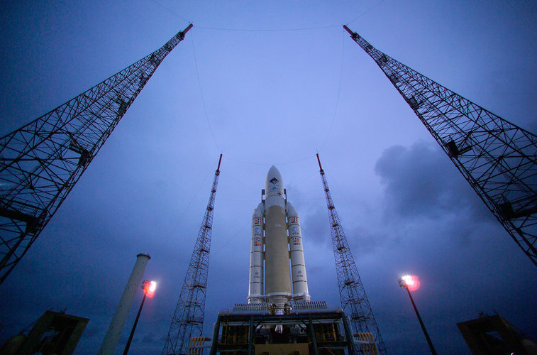Ariane 5 stands on the pad at the ZL-3
