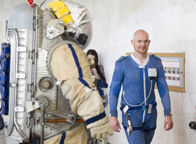 Alexander ready for training with Orlan spacesuit
