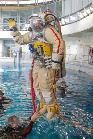 Alexander training with Orlan spacesuit