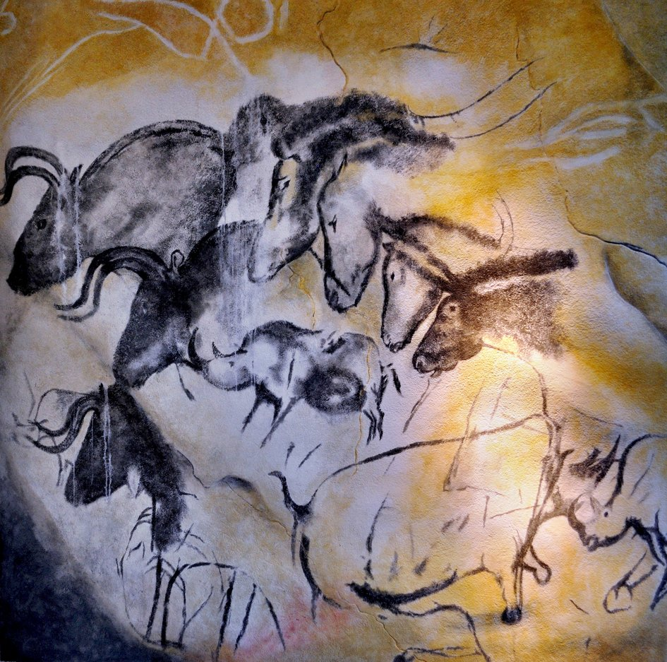 Cave painting from char bone pigment