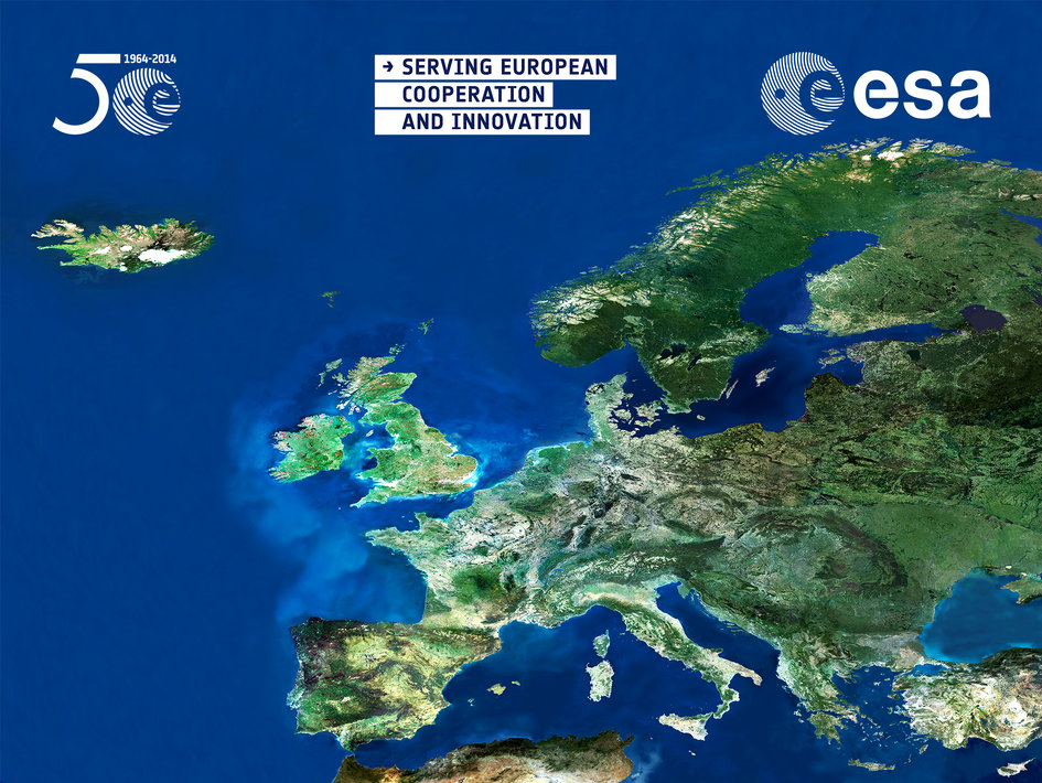 English projection screen for 50 years of European cooperation in Space