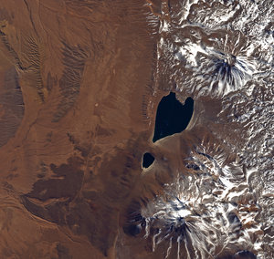 The heart-shaped Miscanti lake in northern Chile