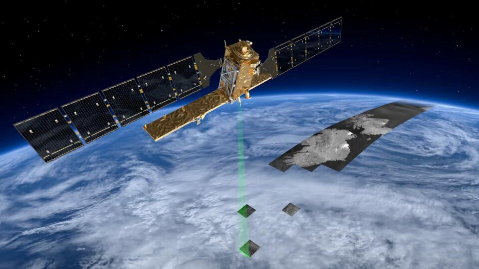 Copernicus Sentinel-1 scanning Earth with a Synthetic Aperture Radar (SAR) instrument.