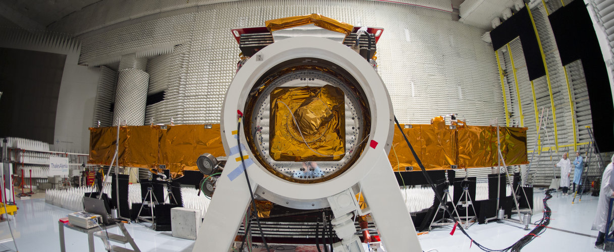 Sentinel-1A satellite during radio frequency tests