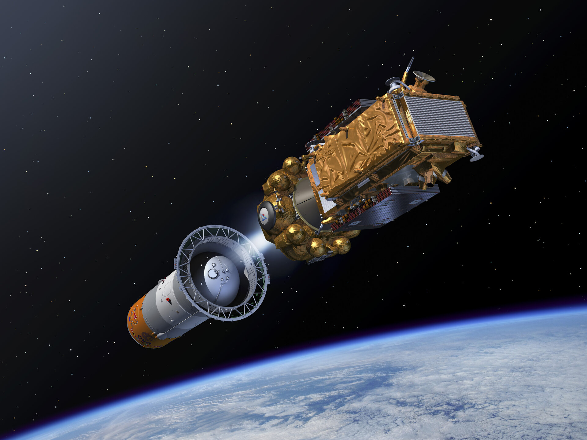Artist's impression of the Sentinel-1A Fregat separation
