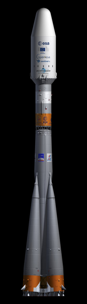 Artist's view of the Soyuz rocket carrying Sentinel-1A satellite