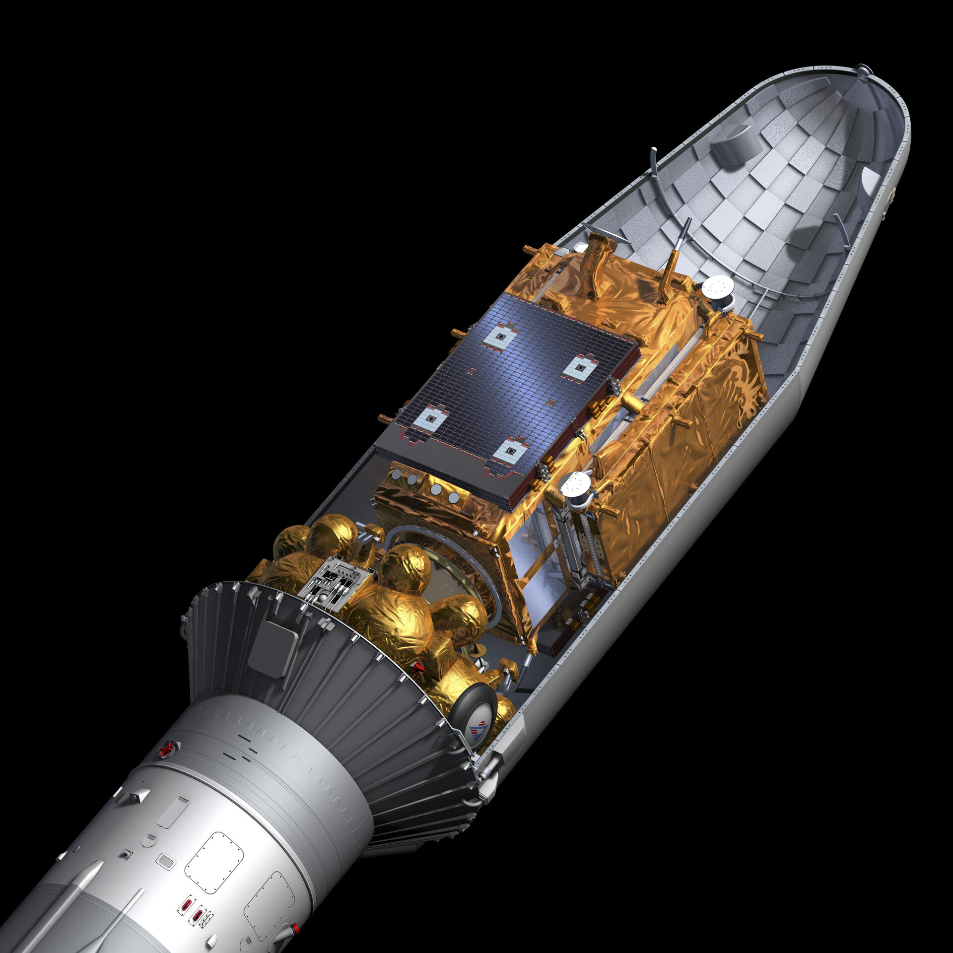 Cut open view of the Soyuz rocket carrying Sentinel-1A satellite