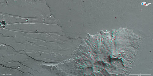 Daedalia Planum and Mistretta Crater in 3D