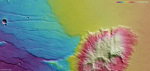 Topography of Daedalia Planum and Mistretta Crater