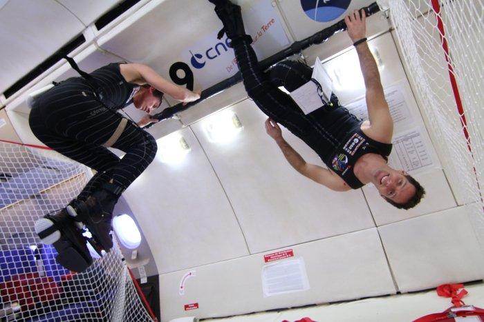 ESA astronaut Thomas Pesquet testing SkinSuit in weightlessness. Credits: CNES/Novespace, 2014