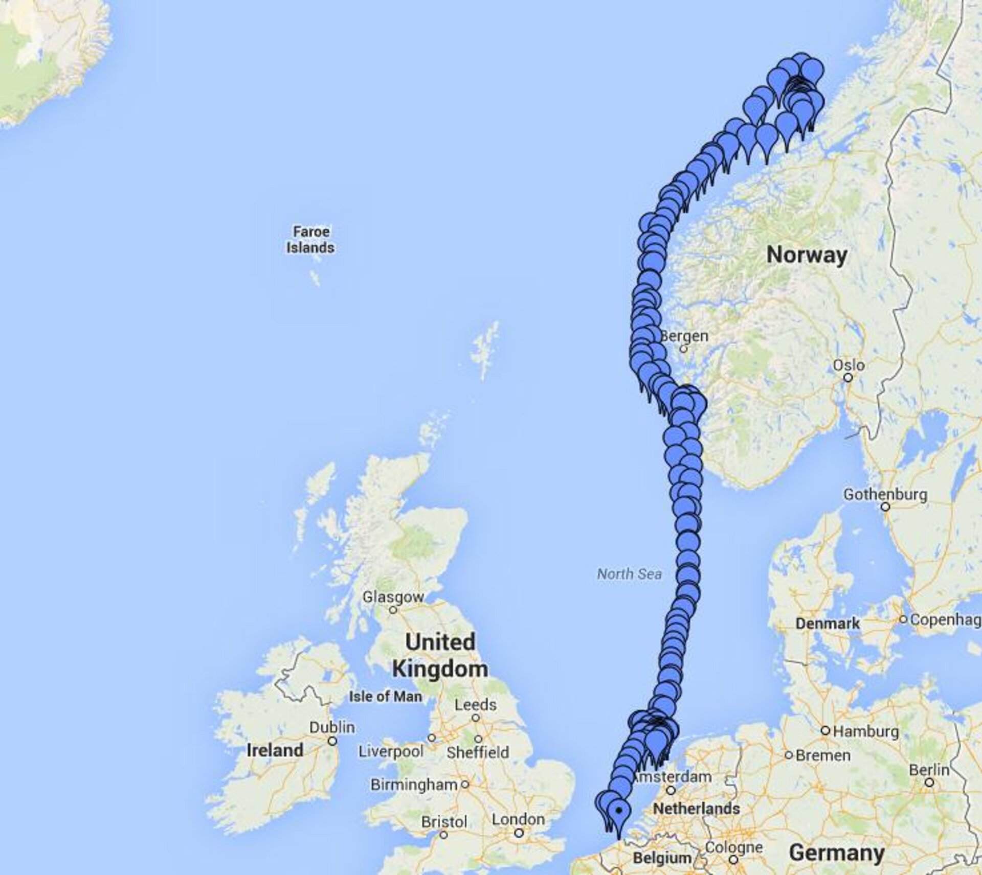 Galileo maritime trial route