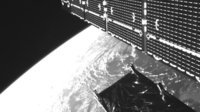 One of Sentinel-1's solar arrays seen by the onboard camera 700 km above Earth earlier today