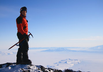 Alexander at the summit of Mount Erebus, Antarctica