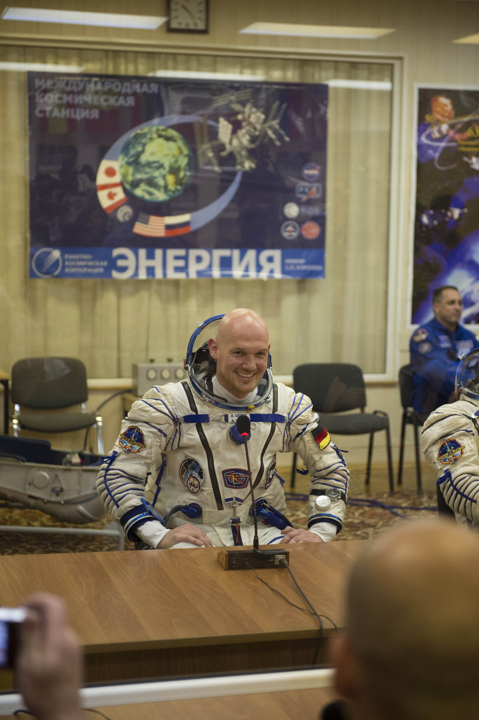 Alexander Gerst dressed in his Russian Sokol suit