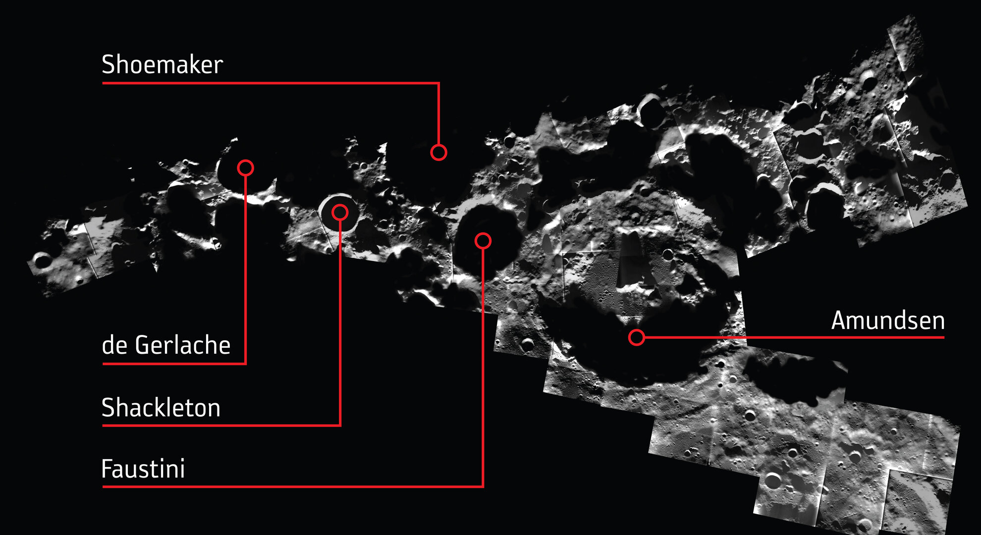 Annotated lunar south pole mosaic