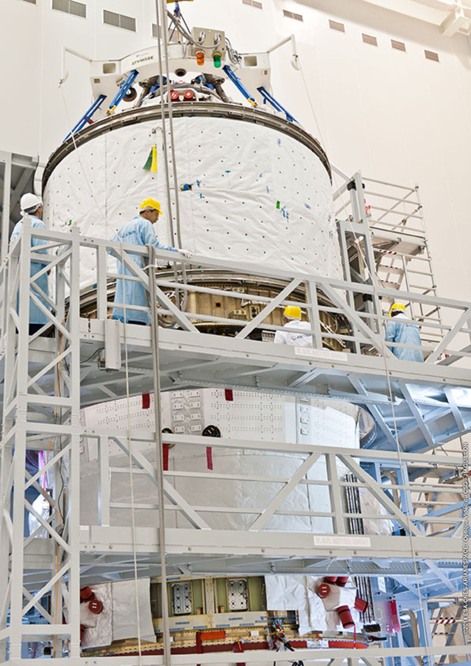 Assembly of ATV-5 at Kourou, French Guiana