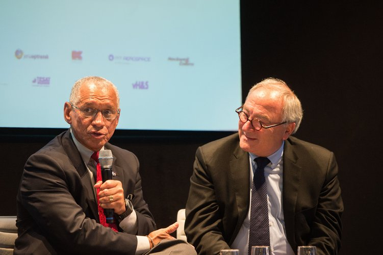 Charles Bolden takes part in a panel discussion