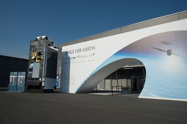 Entrance of the 'Space for Earth' space pavilion at ILA