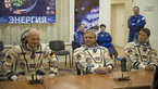 [13/43] Expedition 40/41 crew members dressed in their Russian Sokol suits