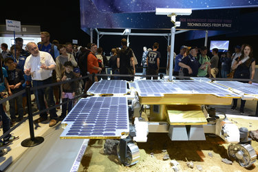 Gerhard Schwehm at the 'Space for Earth' pavilion at ILA