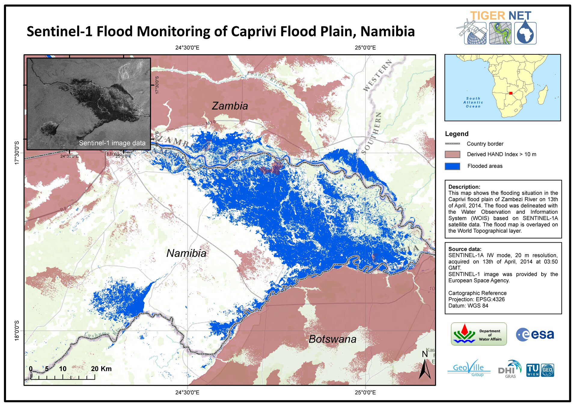 Namibia flood mapped by Sentinel-1A