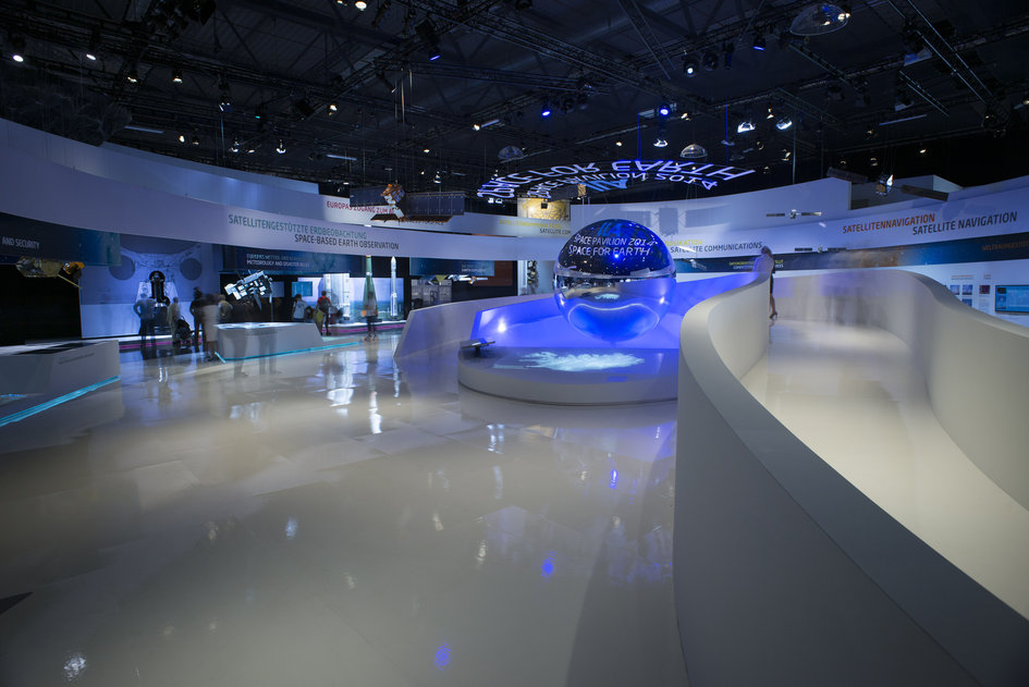 Public at the 'Space for Earth' space pavilion at ILA