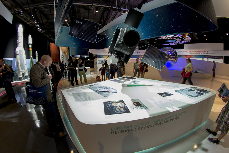Public day at the 'Space for Earth' space pavilion at ILA