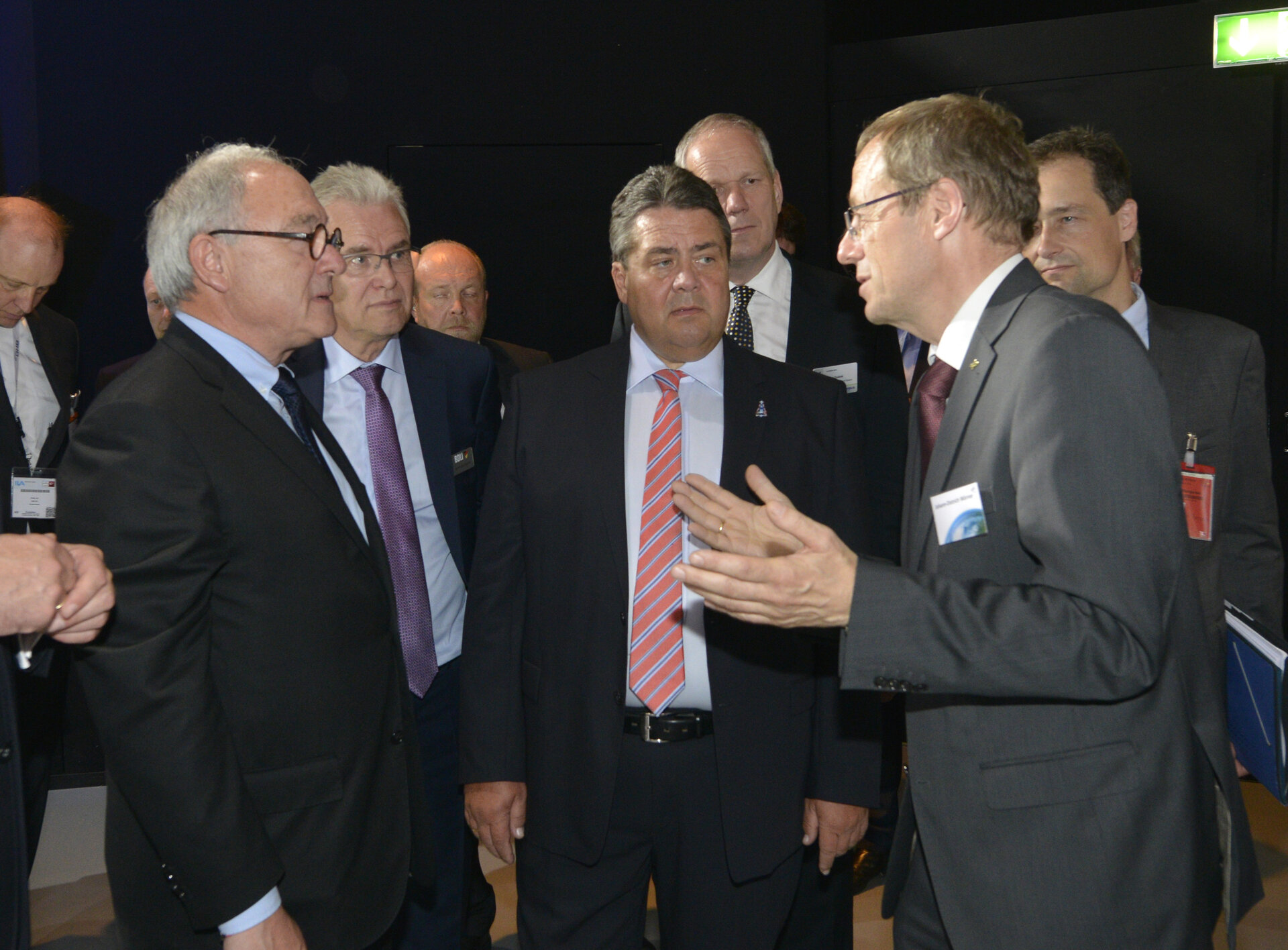 Sigmar Gabriel visits the 'Space for Earth' space pavilion at ILA