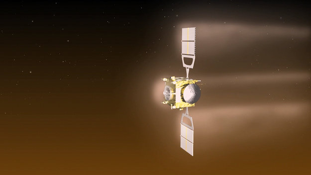Visualisation of Venus Express during the aerobraking manoeuvre, which will see the spacecraft orbiting Venus at an altitude of around 130 km from 18 June to 11 July, 2014