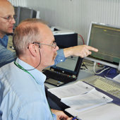 Venus Express deputy spacecraft operations manager Adam Williams (right) & team engineer Joerg Fischer (left) in simulation training at ESOC for aerobraking