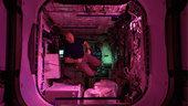 Ein rosa Glühen bei Nacht