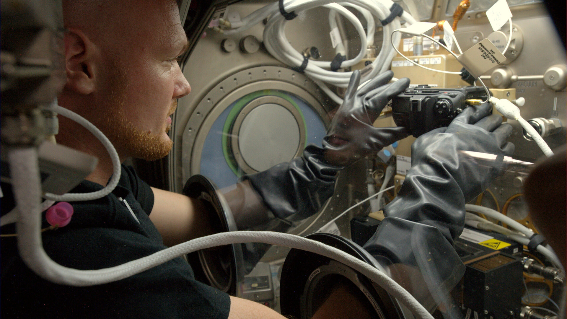 ESA astronaut Alexander Gerst working on fire experiment on Station