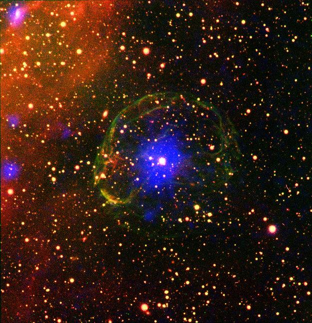 Pulsar encased in supernova bubble