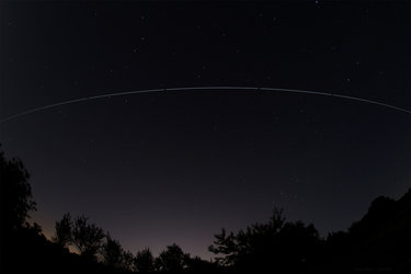International Space Station orbiting high above Darmstadt, Germany, on 6–7 June