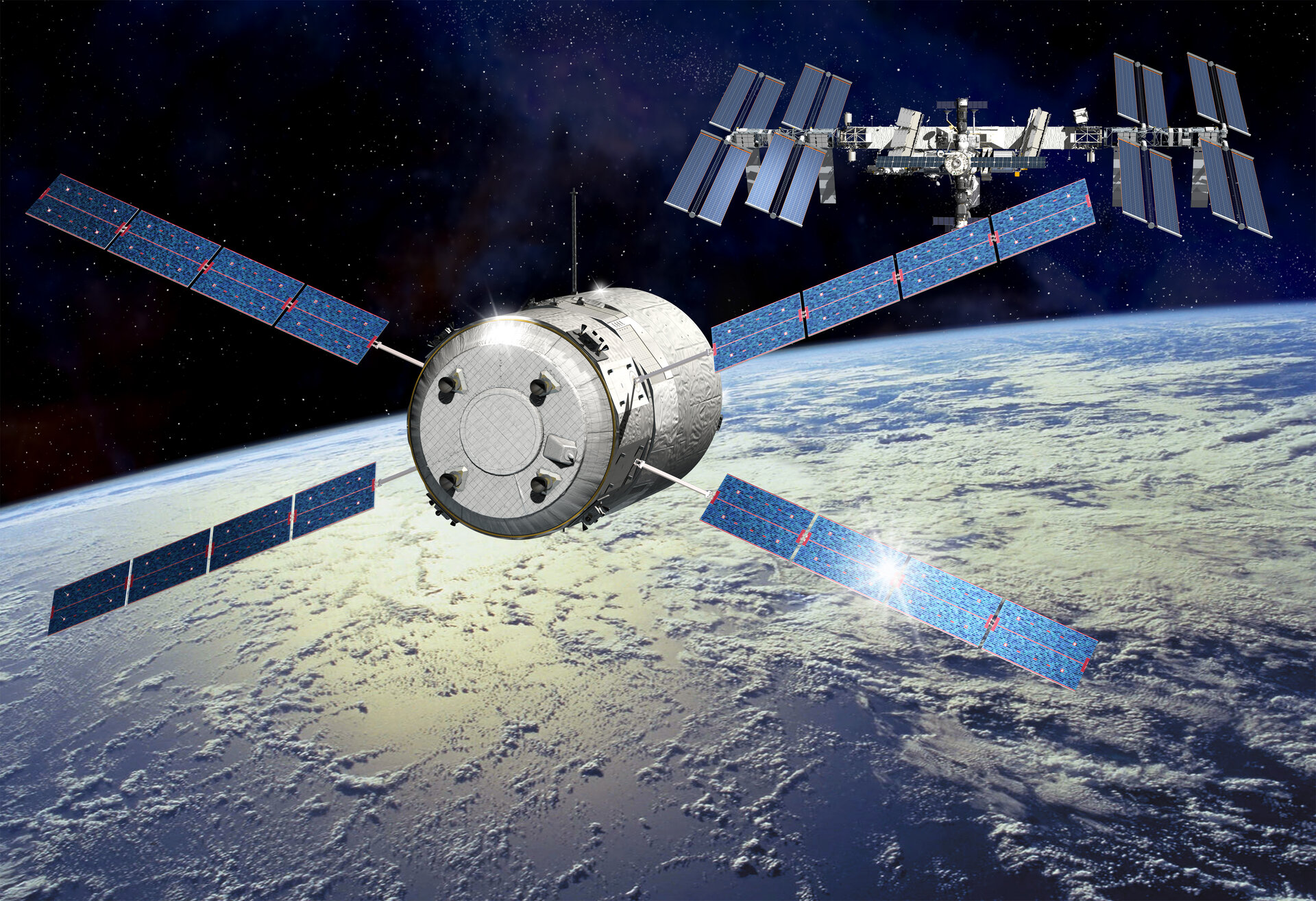 Artist's impression showing ATV-5 approaching the ISS