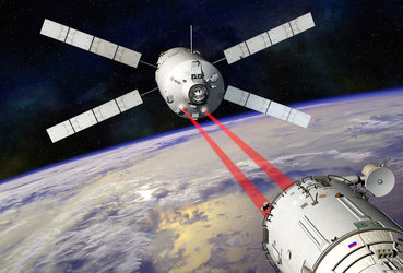Artist's impression showing ATV-5 docking with ISS