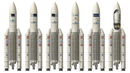 Artist's view and cut open view of Ariane 5 with the different ATV