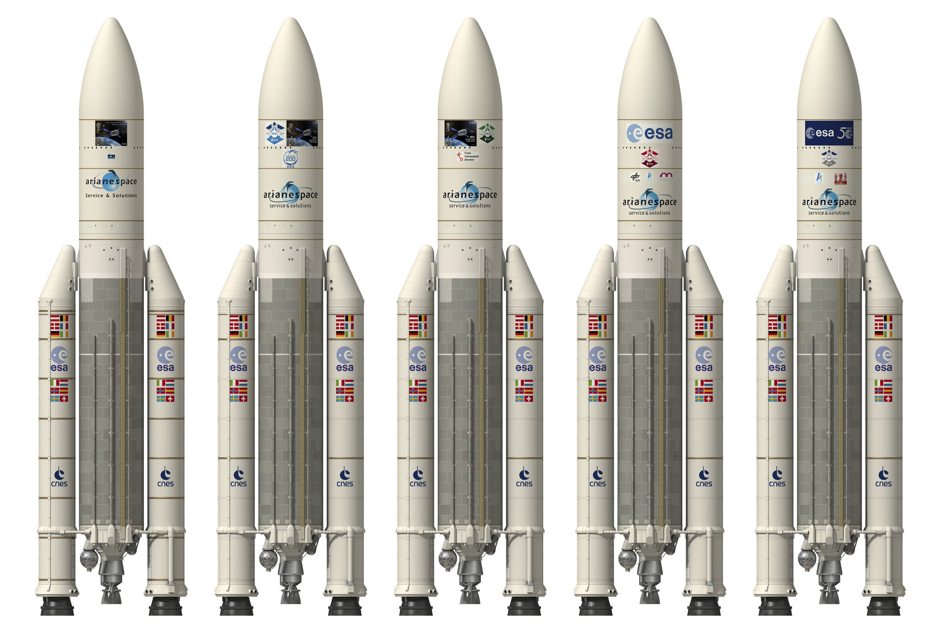 Artist's view of Ariane 5 with the different ATV