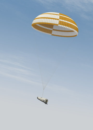 Artist's view of IXV deploying a parachute to slow its descent