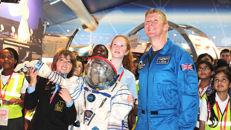 ESA astronaut Timothy Peake with UK Mission-X kids