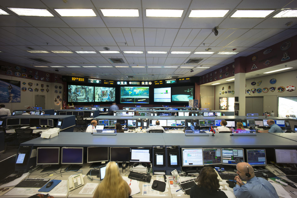 Flight control room at JSC