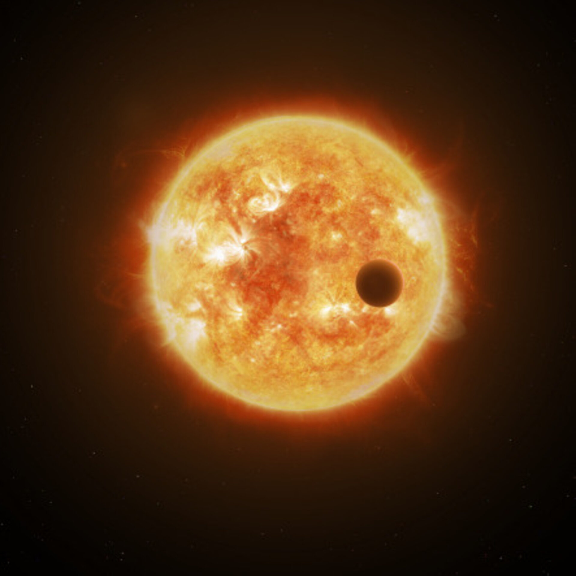 Artist's impression of a planet transiting a star