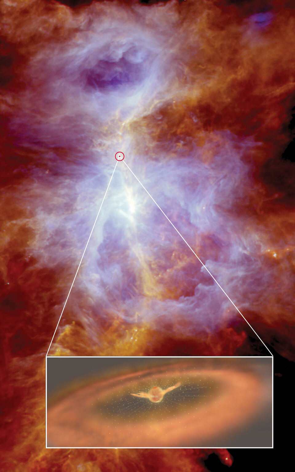 Violent wind gusting around protostar in Orion