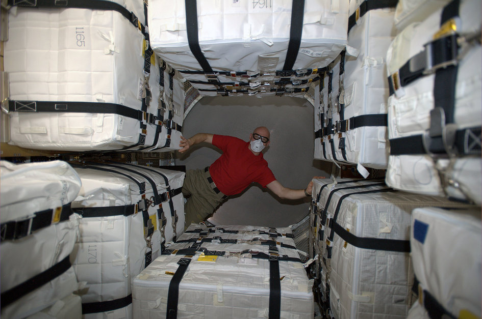 Alexander Gerst inside ATV-5 after hatch opening