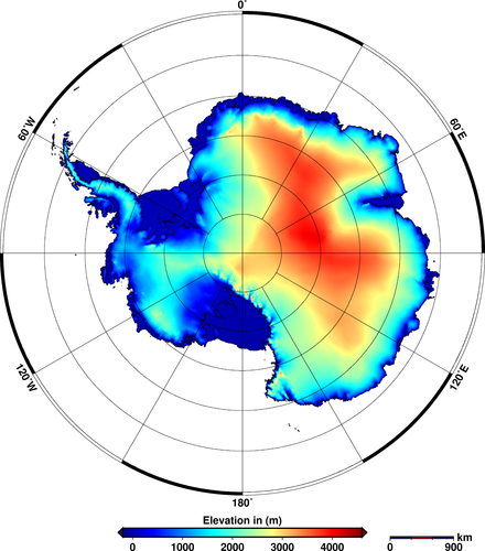 Antarctic ice-sheet height