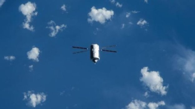 ESA's ATV-5 seen by astronauts on board the ISS during a special flyunder manoeuvre on 8 August 2014