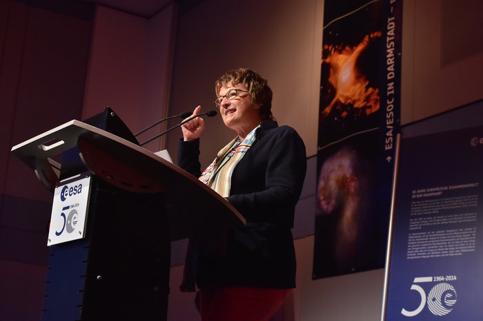 Brigitte Zypries, Parliamentary State Secretary and German Aerospace Coordinator, speaks at ESOC in celebration of 50 years of cooperation in space, 28 August 2014.