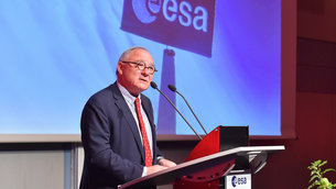 ESA Director General Jean-Jacques Dordain speaking at ESOC to celebrate 50 years of space in Europe
