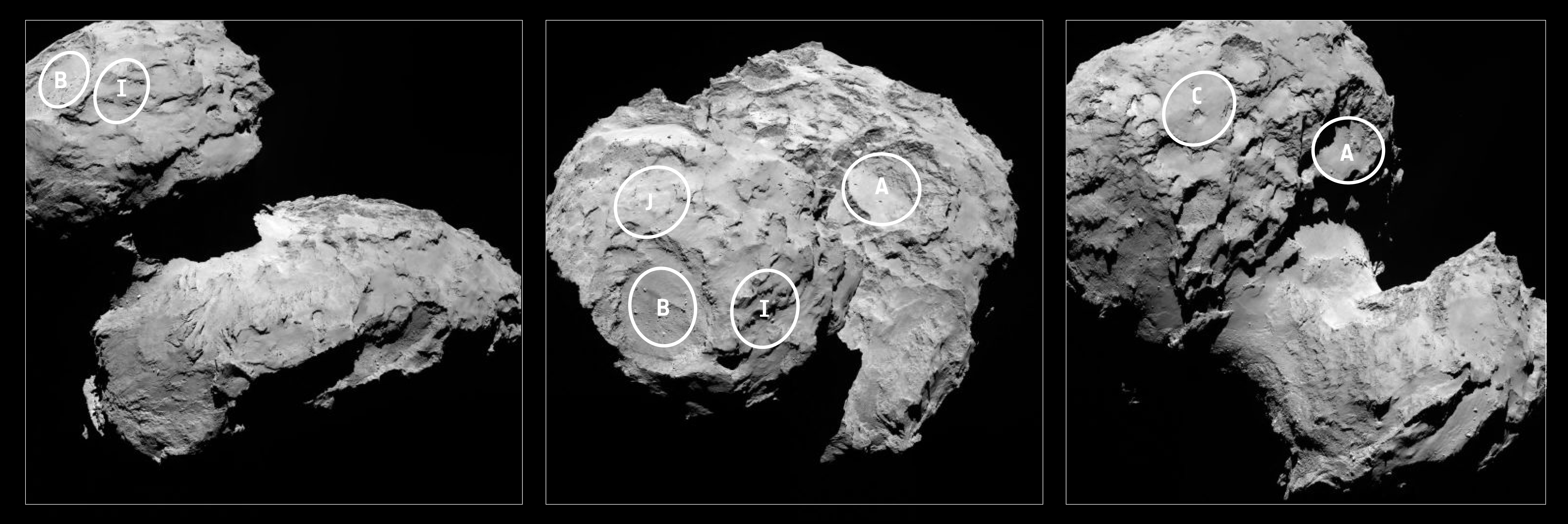 Five of the ten potential landing sites, labelled on the ...