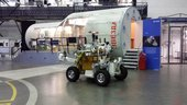 Somewhat blurry image of the Eurobot rover moving under control of Astronaut Alex Gerst at Estec, 7 August